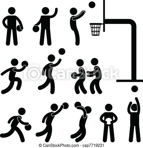 jogador, basquetebol, pessoas, ícone, sinal - csp7719231