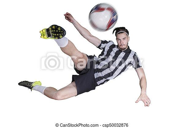 Jogador, bola futebol, chutando. Jogador bola, chutando, fundo ...