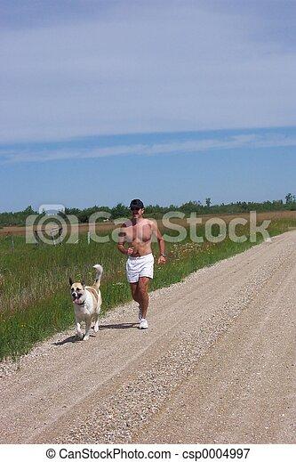 Jogger and dog - csp0004997