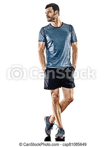 jogger, läufer, schatten, freigestellt, stehende , mann - csp81085649