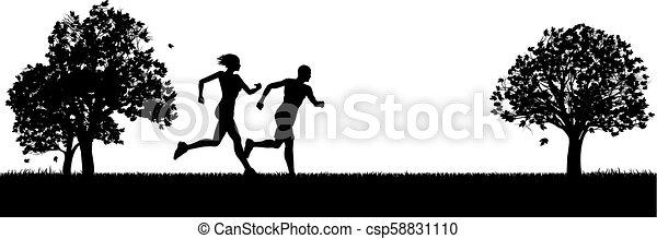 Läufer oder Jogger, die im Park trainieren - csp58831110