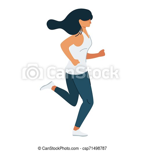 Jogger Running Woman Exercising Cartoon Vector Illustration Keeping In Shape Being Fit Flat Concept Modern Healthy