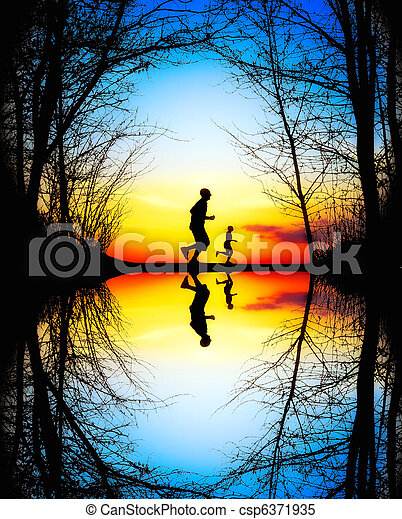 Jogging at Sunset - csp6371935