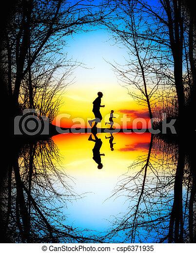 jogging, coucher soleil - csp6371935