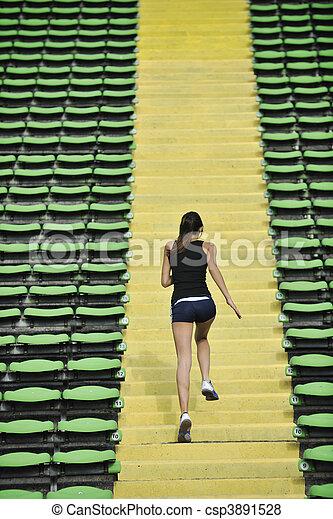 jogging, frau, athletik, stadion - csp3891528