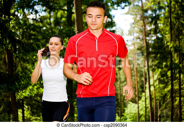 jogging in forest - csp2090364