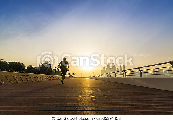 jogging in the morning - csp35394453
