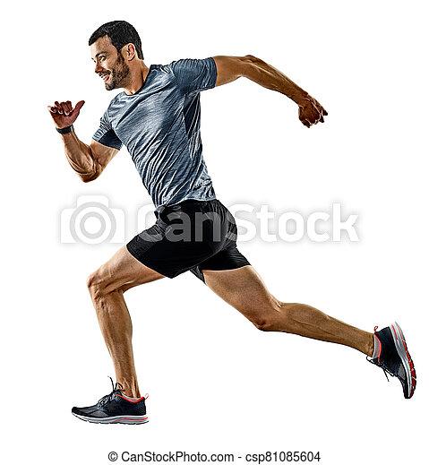 jogging, läufer, schatten, rennender , freigestellt, mann, jogger - csp81085604