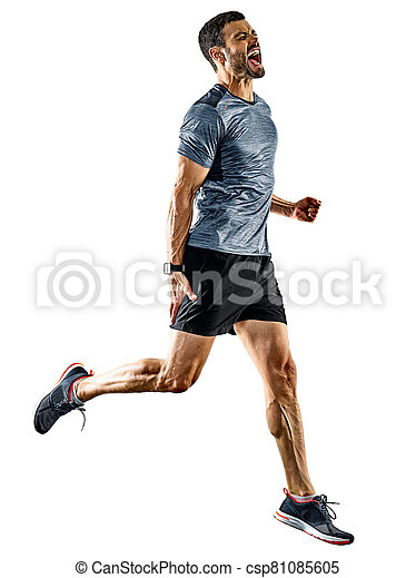jogging, läufer, schatten, rennender , freigestellt, mann, jogger - csp81085605