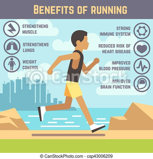 Jogging man, running guy, fitness exercise lifestyle cartoon vector concept - csp43006209