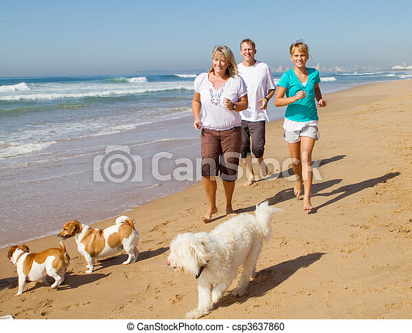 jogging, plage, animaux familiers, famille - csp3637860