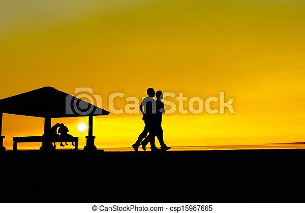 jogging, silhouette, mann - csp15987665