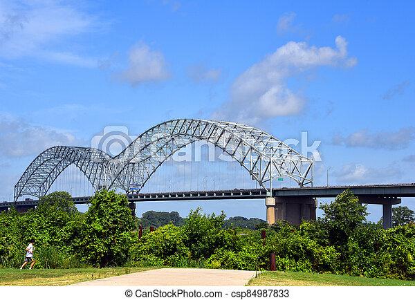 Jogging the River Bluff Walkway Memphis - csp84987833
