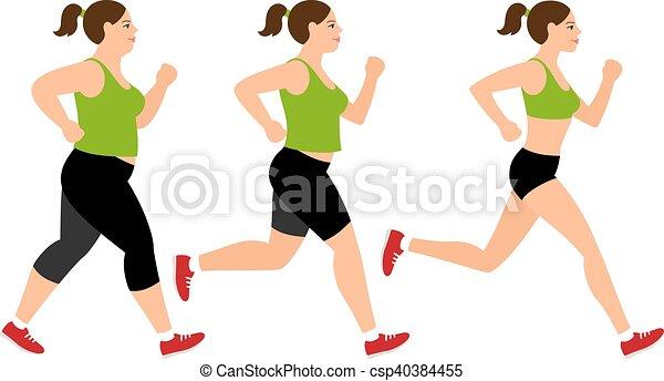 Jogging weight loss woman - csp40384455