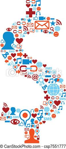 jogo, ícones, mídia, símbolo, dólar, social - csp7551777