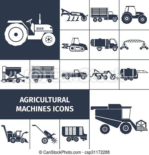 jogo, ícones, pretas, maquinaria, agrícola, branca - csp31172288