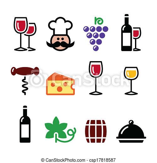 jogo, ícones, -, vidro, colorido, vinho - csp17818587