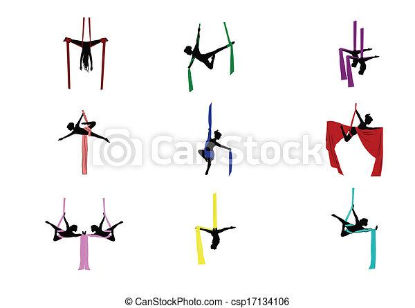 jogo, acrobatas aéreos - csp17134106