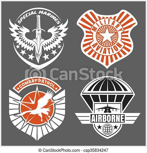 jogo, airforce, etiquetas, -, remendo, forças, militar, logotipo, armado, emblemas - csp35834247
