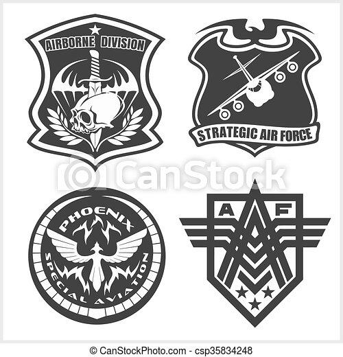 jogo, airforce, etiquetas, -, remendo, forças, militar, logotipo, armado, emblemas - csp35834248