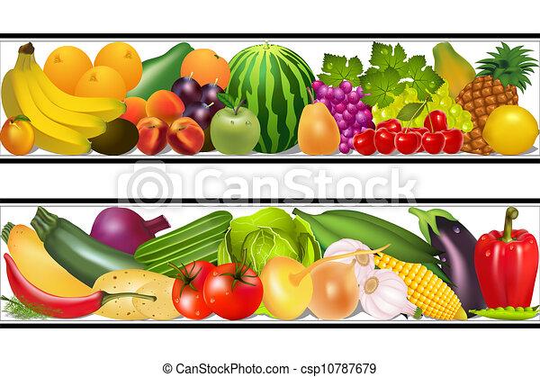 jogo, alimento, legumes, vetorial, frutas, quadro, umidade - csp10787679