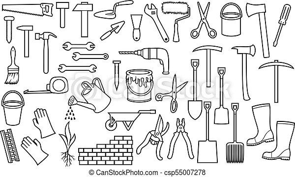 jogo ancinho wall prego ferramentas ax rolo ícones aguando