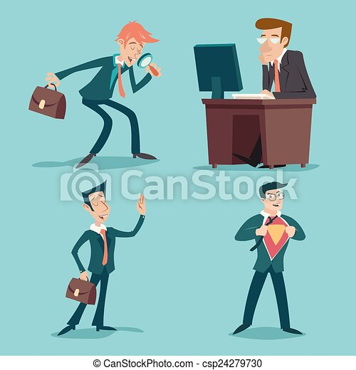 jogo, caráteres, vindima, ilustração, vetorial, desenho, retro, fundo, homem negócios, elegante, caricatura, ícone - csp24279730