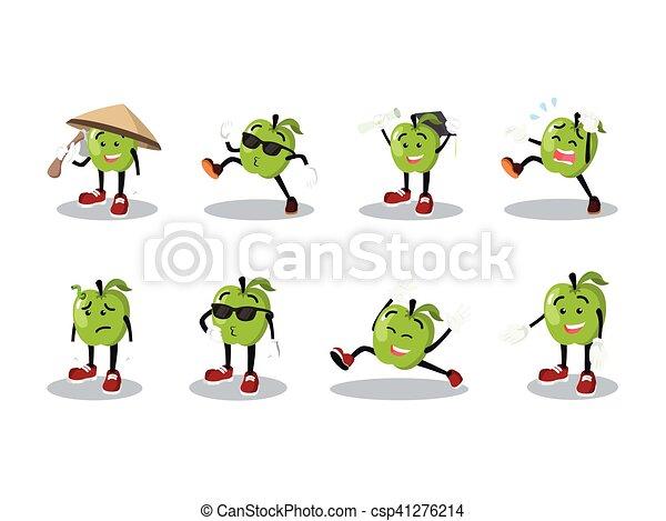 jogo, caricatura, homem, maçã - csp41276214