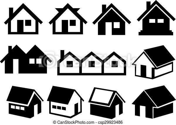 jogo, casa, telhado, pretas, gabled, branca, ícone - csp29923486