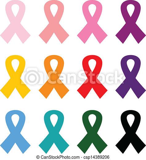 jogo, coloridos, câncer, isolado, peito, branca, fitas, ícone - csp14389206