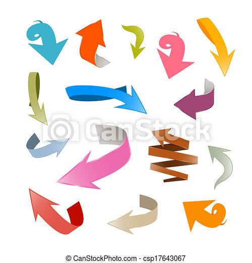 jogo, coloridos, setas, isolado, vetorial, fundo, branca - csp17643067