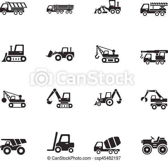 jogo construção, maquinaria, ícone - csp45482197