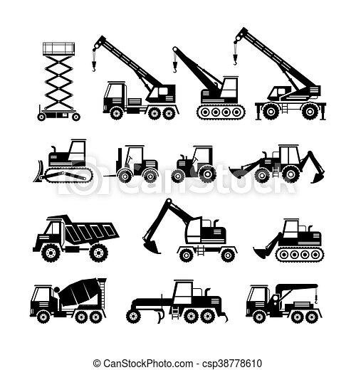 jogo construção, silueta, objetos, veículos - csp38778610