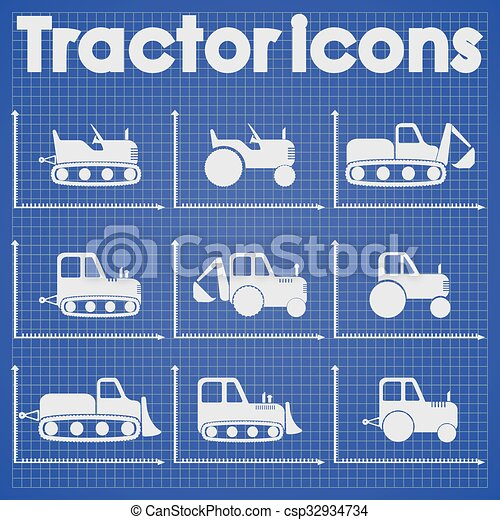 jogo construção, trator, ícone - csp32934734