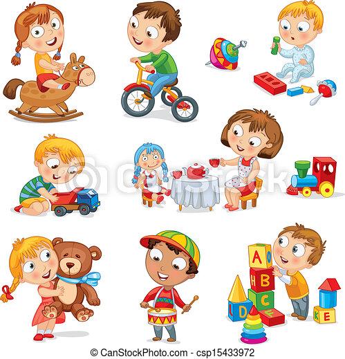 jogo, crianças, brinquedos - csp15433972