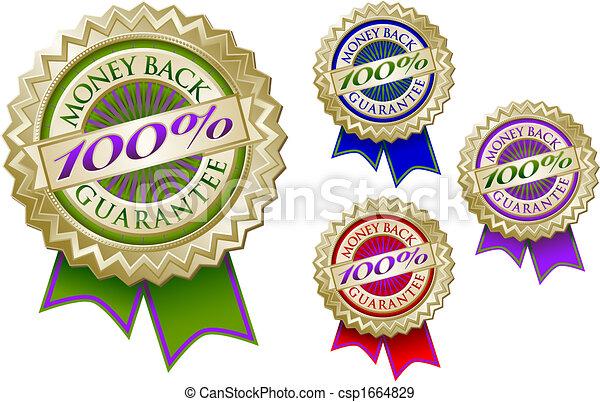 jogo, emblema, dinheiro, 100%, costas, selos, quatro, garantia - csp1664829