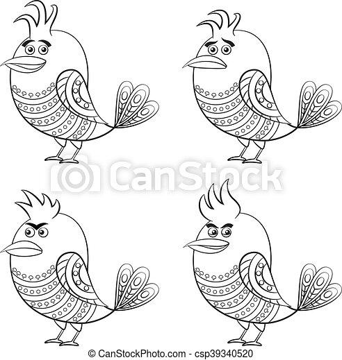 jogo engraçado pássaros contorno patterned cute diferente
