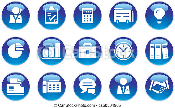 &, jogo, escritório negócio, ícones - csp8504985
