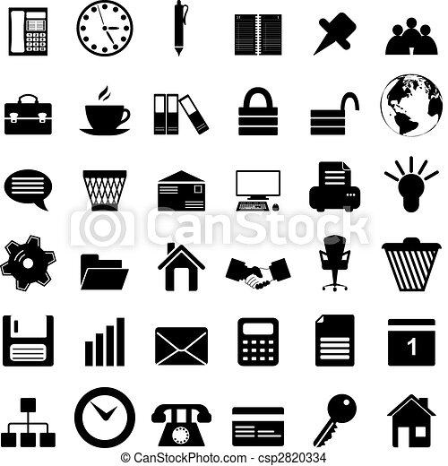 jogo, escritório negócio, ícones - csp2820334