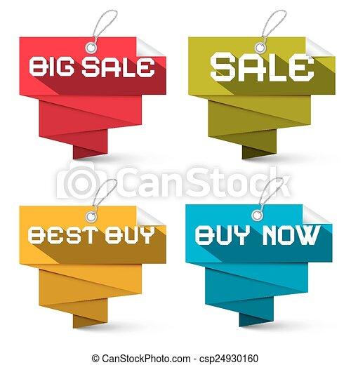 jogo, etiquetas, venda, isolado, vetorial, fundo, branca - csp24930160