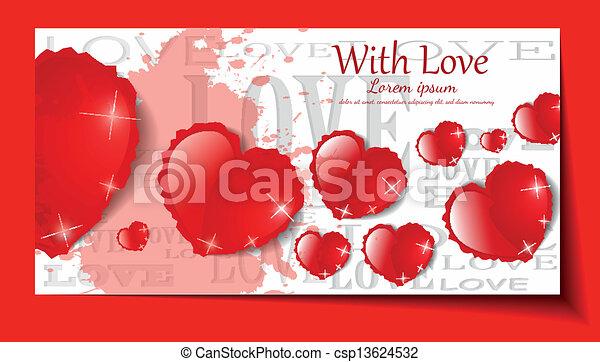 jogo, grunge, experiência., vetorial, corações, branca - csp13624532
