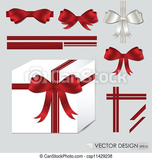jogo, illustration., presente, grande, arcos, vetorial, ribbons., vermelho - csp11429238
