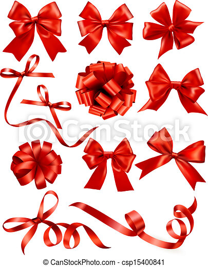 jogo, illustration., presente, grande, arcos, vetorial, ribbons., vermelho - csp15400841