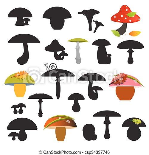 jogo, isolado, ilustração, cogumelos, vetorial, fundo, branca - csp34337746