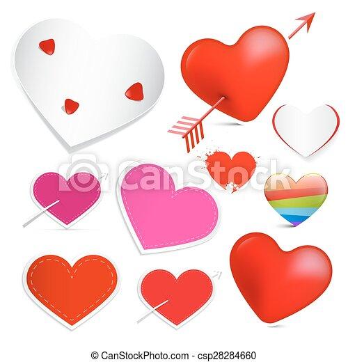jogo, isolado, vetorial, fundo, corações, branca - csp28284660
