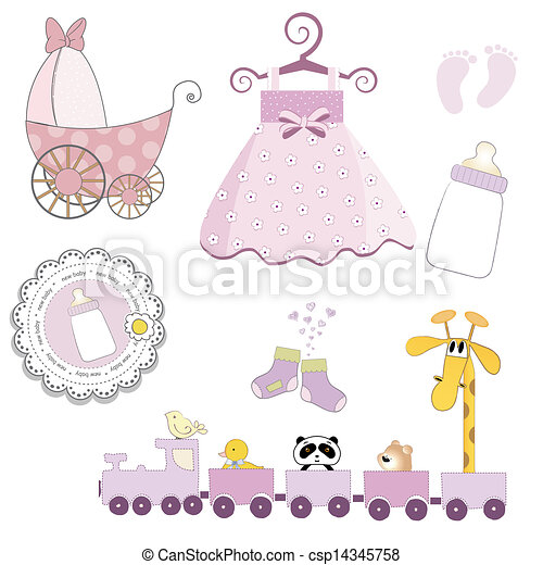 Jogo Itens Isolado Fundo Menina Bebê Branca Vetorial Jogo