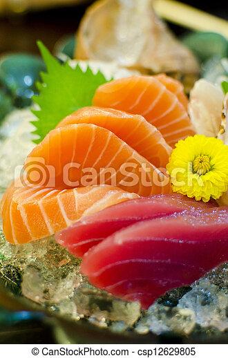 jogo, japonês alimento, sashimi, atum, salmão - csp12629805