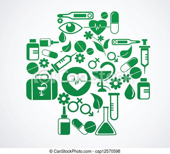 jogo, médico, crucifixos, saúde, branca, ícone - csp12570598