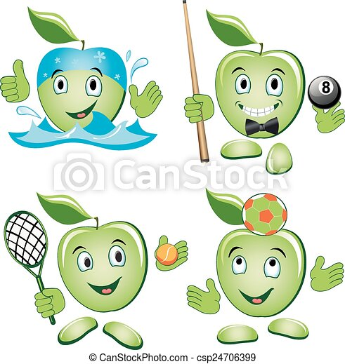 jogo, maçã, caricatura - csp24706399