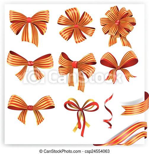 jogo, ouro, presente, arcos, ribbons., vermelho - csp24554063